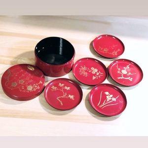 Vintage Japanese Small Plate Set & Box